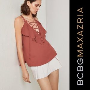Bcbgmaxazria BCBG lace up top NWT xs